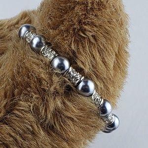 Silver Metal Gray pearl Bracelet